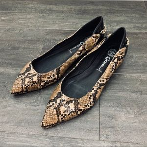 Jeffrey Campbell Python Gold Chain Pointed Flats 8